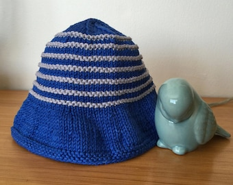 Hat was knit blue cotton, infant 3/6 months