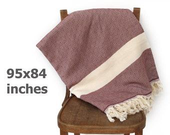 Türkische Baumwolle Tagesdecke Baumwolle Decke türkische Decke Möbel werfen Picknickdecke Diamant-Burgund rot XXX GROßE 240 x 210 cm