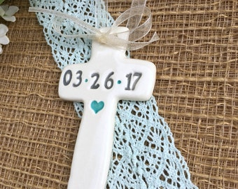 Religious Keepsake Cross for First Communion Favors or Baptism Favors - Personalized Keepsake Ornament