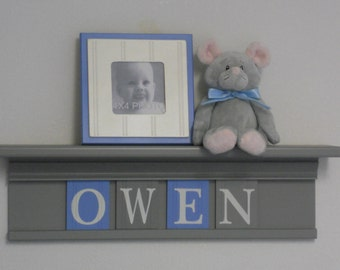 Baby Boy Nursery Decor Grey Shelf Personalized Wall Letter Plaques Pastel Light Blue / Gray Custom Name Sign