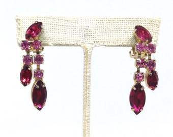 Magnificent High End Red Pink Rhinestone Dangle Gold Tone Vintage Estate Earrings Christmas Present - Holiday Gift