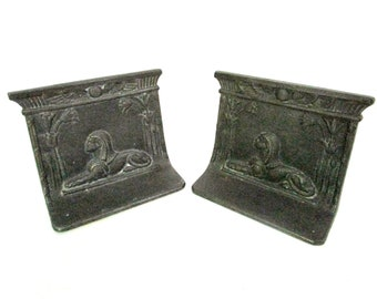Sphinx Bookends, Cast Metal Bookends, Egyptian Revival Bookends