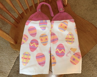 Easter - Peep Chick W/Colored Easter Eggs Knit Top Kitchen Towels