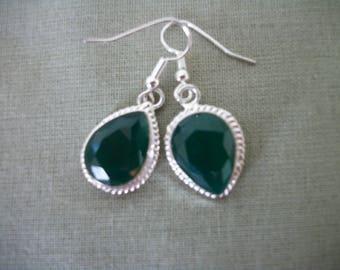 OOAK Mismatched  Genuine Raw Green Emerald  in Sterling Silver Teardrop   Earrings Boho Hippie