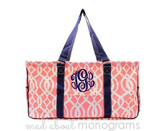 Personalized Monogrammed Collapsible Deluxe Large Utility Tote Bag | CORAL Navy VINE | Teacher Gift | Tailgating | Carry All Organizer
