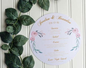 Round Menu, Circle Menu, Any Size ROUND MENU, Charger Menu, Reception Menu Cards - for weddings, bridal events, and dinner parties