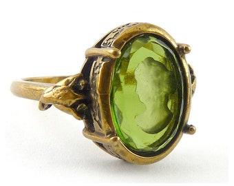 Extasia Bronze Victorian Style Olivine Glass Intaglio Portrait Ring