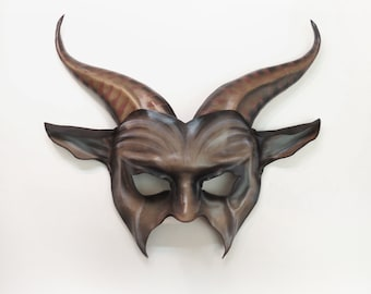 Entirely Handcrafted Leather Goat Mask very lightweight and easy to wear