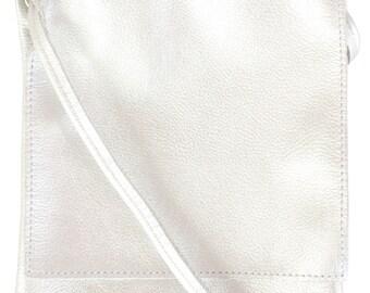 Silver Leather Crossbody Bag