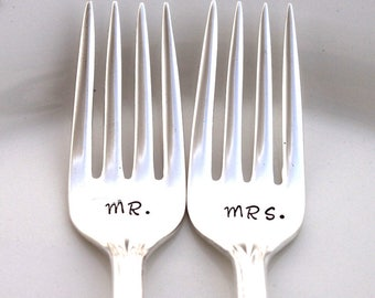 Mr. & Mrs. WEDDING Forks Cake Table Setting Decor GRILLE Forks Hand Stamped - VICTORIAN Rose 1954 - Ready To Ship
