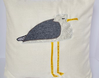 """White Pillow with Seagull 18x18"""""""