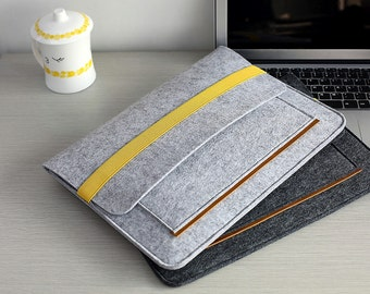Light Grey Felt Macbook Air 11 Case , Felt 11 inch Laptop Case , Felt Macbook Air 11 Sleeve , Felt Macbook Pro 13 Case #210