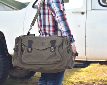 Mens Duffle Bag Personalized, Canvas Weekend Travel Bag, Personalized Groomsmen Gift, Gifts for Him