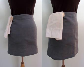 Slate Gray Half Apron with Pockets and Towel Loop, Linen Server Apron, Bistro Apron, Waitress Apron, Restaurant Apron, Waist Apron, Monument