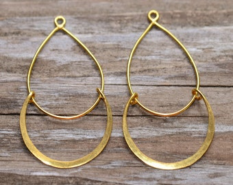 Vermeil Double Hoop Chandelier Dangle - 40x21mm