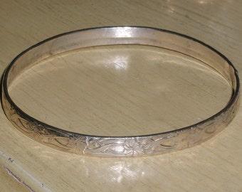 Vintage Morning Glory Flower Nouveau Vine Repousse Sterling Silver Bracelet- Marked 925 MEXICO