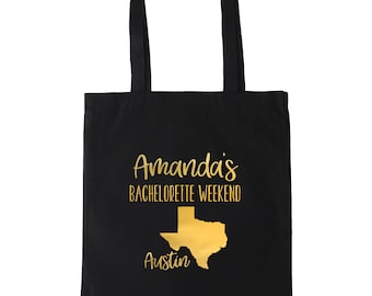 Texas Bachelorette Personalized Tote Bag // Gold // Silver //  Personalized Tote Bag Custom Map Tote Bag// Austin Bachelorette