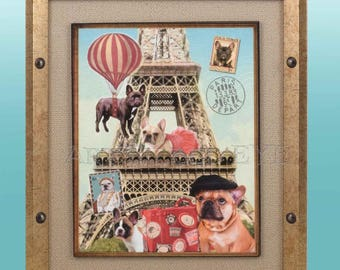 Artwork of Cute Fawn, Cream, Pied and Brindle Black French Bulldogs Eiffel Tower Hot Air Balloons Print Art Wall Picture FRAMED with Mat