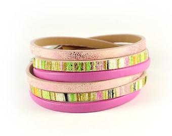 Women colorful bracelet, wrap leather bracelet, magnetic closure bracelet, bracelet double wrap, boho chic jewelry, anniversary gift for her