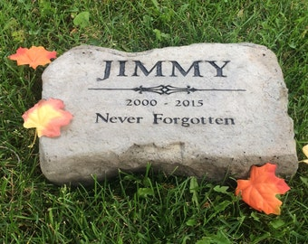 Personalized memorial stone. Heavy duty concrete stone not made from plastic resin (deeply engraved)