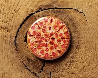 """Pizza Pie (1-1/4"""" Pinback Button or Magnet)"""