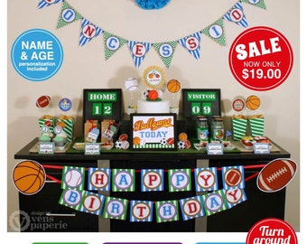 Sport Birthday Party Package Personalized FULL Collection Set - PRINTABLE DIY - PS821CA1x