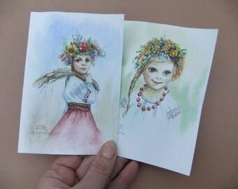 Original Watercolor Art Postcards Set of 2