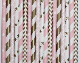 25  Ballet Glam Paper Straw Mix  PAPER STRAWS birthday party event cake pop sticks pink gold