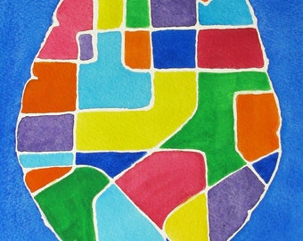 Neural Pathways 4 -  original watercolor painting - neuroscience