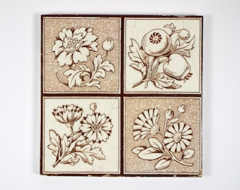 Antique 1890s Victorian Thomas Boote flowers and berries pottery tile