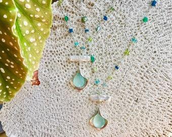 Long Gemstone Necklace, Multi Gemstone Necklace, Semi Precious Stone Necklace, Multi Gem Necklace, Multi Color Necklace,  Gem Bead Necklace