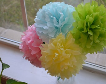 25 Easter Tissue Flowers/Pastel Tissue Flowers/Pastel Tissue Flowers/Stemmed Flowers/Tissue Poms/Flowers/Party Decorations/Centerpiece
