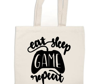 Eat Sleep Video Game Repeat Gamer Funny Canvas Tote Bag Market Pouch Grocery Reusable Recycle Eco Friendly