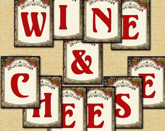 Wine & Cheese Party Banner Printable Instant Download
