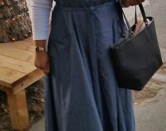 CUSTOM apron dress, pinafore, halter dress, custom frock, sample of dark chambray cotton