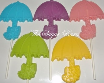 UMBRELLA CHOCOLATE Lollipops*12 Count*Bridal Shower*Baby Shower*New Bride*New Baby*Chocolate Favor*It's A Boy*It's A Girl*It's Twins
