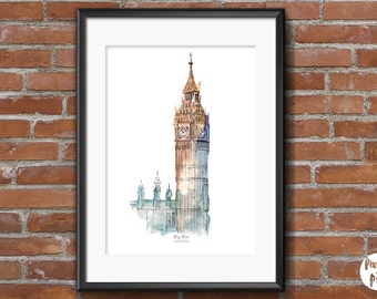 "Printable Art ""Big Ben - London""  Travel Wall Art   Home Decor   Watercolour   Illustration   Landmarks   Cities   England"