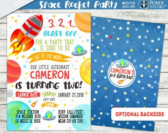 PRINTABLE or PRINTED ||Rocket/Outer Space Party|| Optional Thank you cards|| Optional Backside ||Watercolor|| Rocket Ship Invitation||