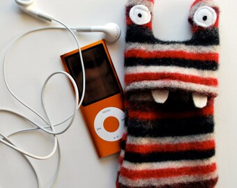 Red and Black Stripey Monster iPod or iPhone Cozy - Cell Phone Case - Mobile - Upcycled - Teen Tween Gift - Stocking Stuffer