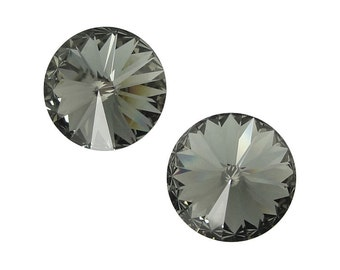 BLACK DIAMOND 14mm Rivolis Swarovski Rivoli Stones Article 1122 14mm Swarovski Crystal Grey Gray