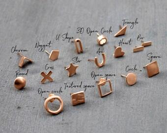 Minimalist Rose Gold Earrings Minimalist Tiny rose gold earrings Rose gold post earrings Rose Gold Stud earrings Rose Gold Jewelry