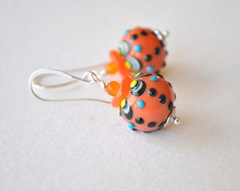 SALE Orange Earrings, Lampwork Earrings, Glass Earrings, Polka Dot Earrings, Sale Earrings