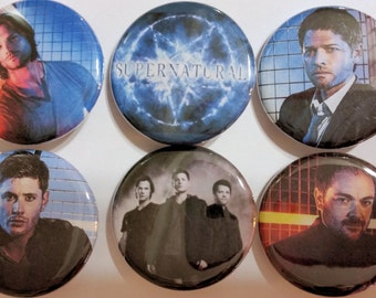 Supernatural Badge Button Pin Set of 6