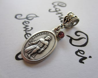 St Peregrine Medal & Lavender Glass Charm Pendant, Patron Saint for Cancer Patients, Catholic Religious Gift