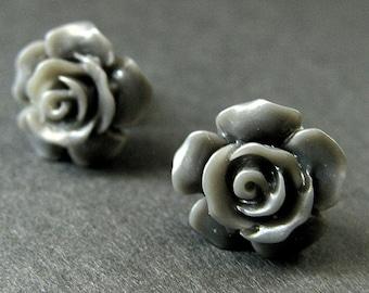 Gray Flower Earrings. Grey Earrings. Gardenia Flower Earrings. Bronze Post Earrings. Gray Rose Earrings. Handmade Earrings.