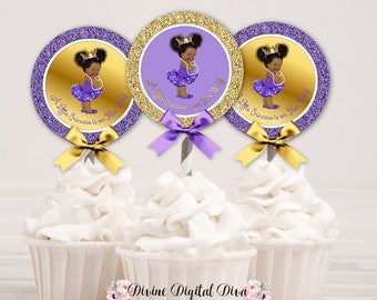 Cupcake Topper Circles | Princess Ballerina Purple & Gold Crown | African American Afro Puffs | Digital Instant Download