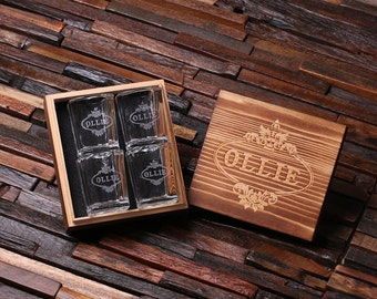 Personalized Shot Glasses (4) with Wood Box Groomsmen, Best Man, Man Cave Gift Barware (024966)