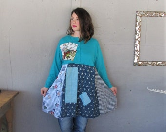 upcycled clothing Patchwork turquoise Boho tunic dress 1 X  wearable art dress Fun clothes Gypsy Bohemian recycled Eco LillieNoraDryGoods
