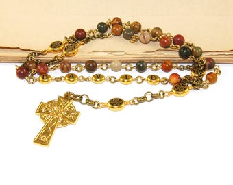 Anglican Name Rosary, Personalized Christian Prayer Beads, Jasper & Gold