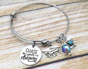 Chase your Dreams Customizable Expandable Bangle Charm Bracelet, graduation, high school, college, new job, persistance
